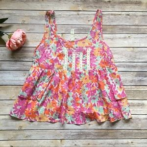 Like New Free People Floral tank